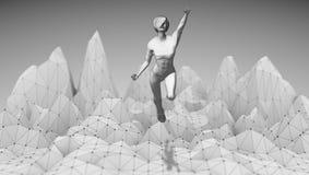 Kobiety latanie nad depresja gór poli- krajobraz Zdjęcie Royalty Free