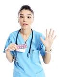 Kobiety lekarka żadny medycyn pigułki Obrazy Royalty Free
