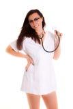 Kobiety lekarka odizolowywająca na białego tła medycznym personelu Obrazy Stock