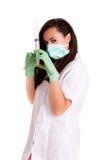 Kobiety lekarka odizolowywająca na białym tło medycznego personelu pracowniku Zdjęcie Stock