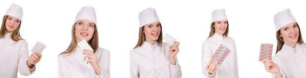 Kobiety lekarka odizolowywająca na bielu Zdjęcia Royalty Free
