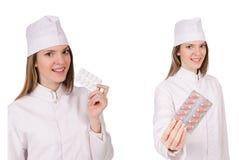 Kobiety lekarka odizolowywająca na bielu Obrazy Royalty Free