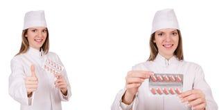 Kobiety lekarka odizolowywająca na bielu Fotografia Royalty Free