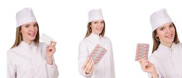 Kobiety lekarka odizolowywająca na bielu Fotografia Stock
