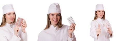 Kobiety lekarka odizolowywająca na bielu Obrazy Stock