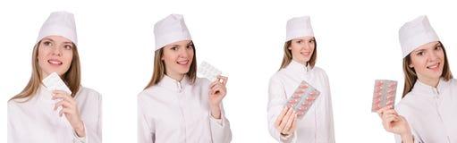Kobiety lekarka odizolowywająca na bielu Obraz Royalty Free