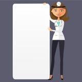 Kobiety lekarka z pustej prezentaci kreskówki wektoru płaskim illus Obrazy Stock