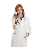 Kobiety lekarka z stetoskopem odizolowywającym Zdjęcie Stock