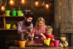 kobiety, mężczyzny i chłopiec dziecko, kocha naturę Kwiat opieki podlewanie Glebowi użyźniacze Rodzinny dzień charcica Szczęśliwy zdjęcia royalty free