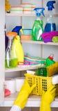 Kobiety magazynowania cleaning narzędzia w śpiżarni Zdjęcie Stock