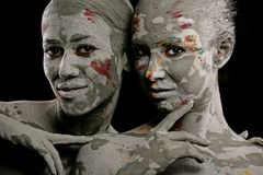 Kobiety malować z makijażem fotografia stock
