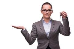Kobiety mienia klucze w nieruchomości pojęciu Obrazy Royalty Free