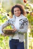 Kobiety mienia kosz krabów jabłka W ogródzie obrazy royalty free