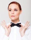 Kobiety mienia łęku krawat Zdjęcie Stock