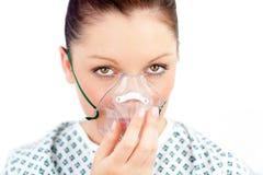 kobiety mienia maski chorobliwa tlenowa kobieta Fotografia Stock