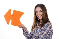 Kobiety mienia pomarańcze strzała Zdjęcia Stock