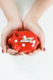 Kobiety mienia prosiątka czerwony bank zdjęcia stock