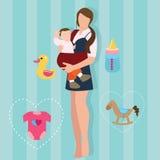 Kobiety mienia przewożenia dziecka przewoźnika macierzysty dziecko z temblak miłości rodzica nową mamą royalty ilustracja
