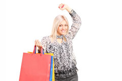 Kobiety mienia torba na zakupy Zdjęcia Stock