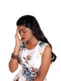 Kobiety mienia twarz dla migreny obraz royalty free