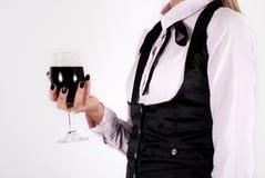 Kobiety mienia wina szkło z czerwonym winem odizolowywającym na białym tle Zdjęcie Stock