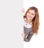 Kobiety mienia znak - portret piękna kobieta trzyma bla Obraz Royalty Free