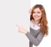 Kobiety mienia znak - portret piękna kobieta trzyma bla Zdjęcie Royalty Free