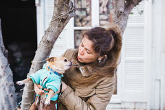 Kobiety mienie w ręki chihuahua psie na światła outdoors tle Zdjęcie Stock