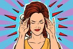 Kobiety migrena, medyczny objaw choroba ilustracja wektor