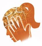 Kobiety migrena, migrena, oparzenie out royalty ilustracja