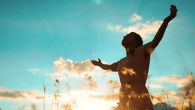 Kobiety modlenie na jej kolano stylu życia dziewczyna składał jej ręki w modlitewnej sylwetce przy zmierzchem zwolnionego tempa w zbiory