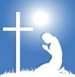 kobiety modlenie przed krucyfiksem ilustracja wektor