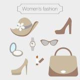 Kobiety mody kolekcja sandybrown akcesoria ilustracji