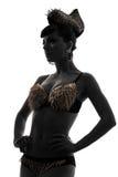 Kobiety mody modela sylwetka z złocistą żądło bielizną Fotografia Stock