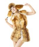 Kobiety mody piękna portret, Seksowna Wzorcowa dziewczyna W zima sezonie Obraz Royalty Free