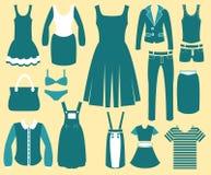 Kobiety mody rocznika odzieżowe ikony Ilustracji