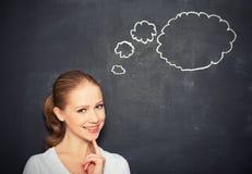Kobiety myśl przy pustym blackboard Obraz Royalty Free