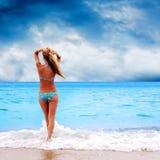 Kobiety na plaży Fotografia Stock
