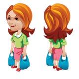 Kobiety nabywca z torba na zakupy Wektorowy charakter royalty ilustracja