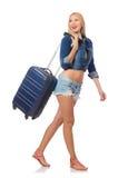 Kobiety narządzanie dla długiej podróży odizolowywającej Zdjęcie Stock