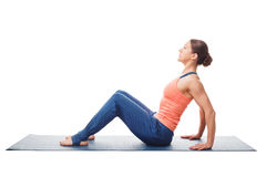 Kobiety narządzanie dla joga asana deski Oddolnej pozy Purvottanasana obrazy royalty free