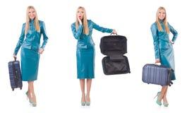 Kobiety narządzanie dla wakacje z walizką na bielu Zdjęcia Royalty Free