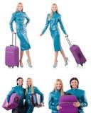 Kobiety narządzanie dla wakacje z walizką na bielu Fotografia Royalty Free