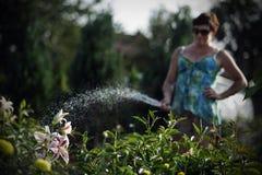 Kobiety nawadnia kwiaty Obraz Royalty Free