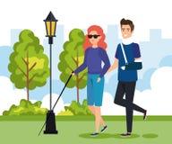 Kobiety niewidomy odprowadzenie z kijem i mężczyzna z ręką łamamy royalty ilustracja