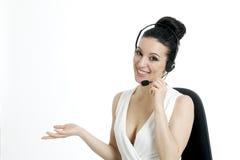 Kobiety obsługi klienta pracownik, centrum telefoniczne uśmiechnięty operator Zdjęcie Royalty Free