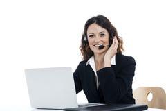 Kobiety obsługi klienta pracownik, centrum telefoniczne uśmiechnięty operator Obraz Royalty Free