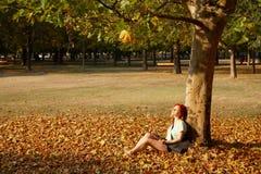 Kobiety obsiadanie pod drzewem w parku Fotografia Royalty Free