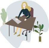 Kobiety obsiadanie przy biurowym biurkiem ilustracji