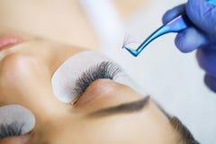 Kobiety oko z długimi rzęsami Baty, zakończenie up, wybierająca ostrość zdjęcia royalty free